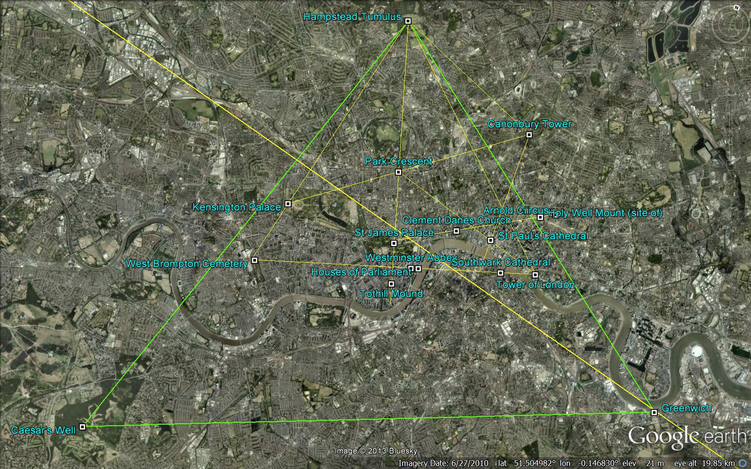 Londons LeyLine Patterns – Google Earth Map Uk